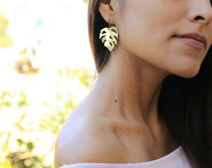 Mini Monstera Earrings | Handmade In Raw Brass