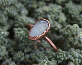 Faceted Aquamarine   Size 11   Handmade With Recycled Copper