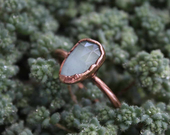 Faceted Aquamarine | Size 11 | Handmade With Recycled Copper