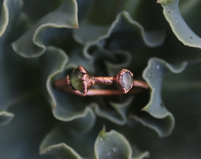 Size 6 1/2 | Peridot + Quartz | Handmade With Recycled Copper