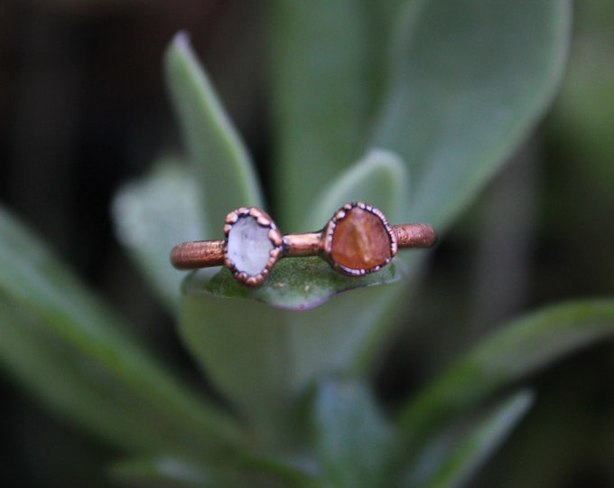 Size 5 | Garnet + Quartz | Handmade With Recycled Copper