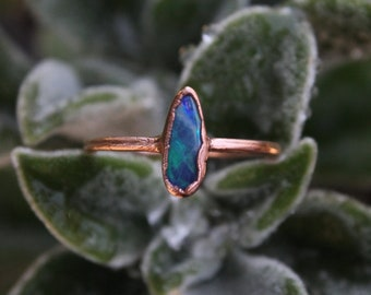 Australian Opal   Size 11 1/2   Handmade With Recycled Copper