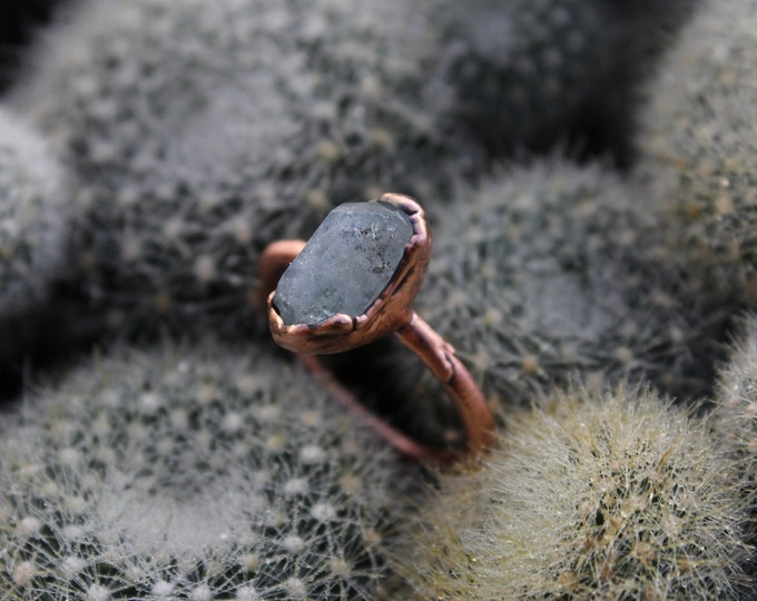 Size 6 | Raw Blue Topaz | Handmade With Recycled Copper