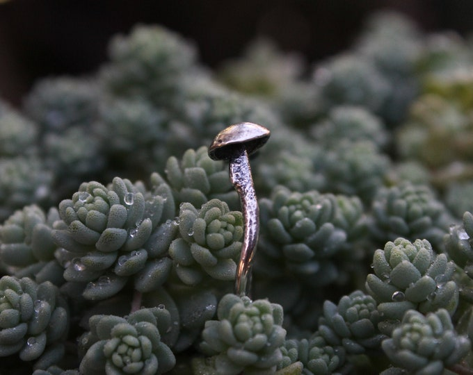 Gray Moonstone | Mushroom Ring | Open Ring Design | 925 Sterling Silver Ring | Moonstone Ring | Mushroom Jewelry | Nature Lover