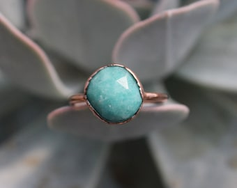 Size 8 3/4   Amazonite   Handmade With Recycled Copper