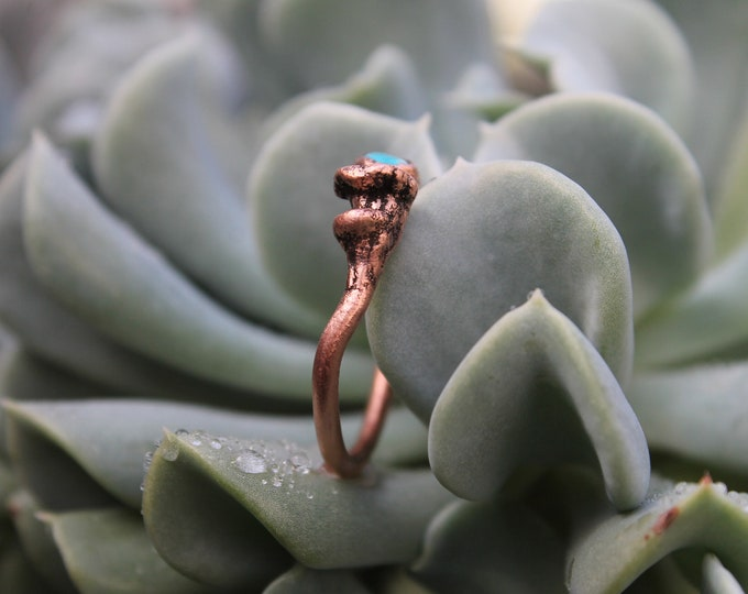 Turquoise Ring | Mushroom Jewelry | Sculpted Mushroom | Copper Ring | Copper Jewelry | Electroformed Jewelry | Mushroom Ring | Turquoise