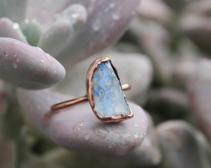 Size 9 1/4  | Large Raw Moonstone  | Handmade With Recycled Copper