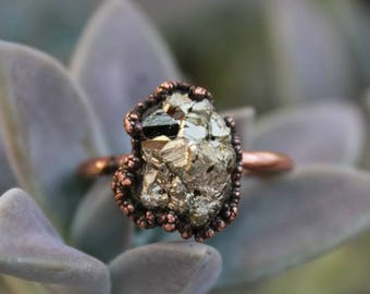 Pyrite | Pyrite Copper Ring | Pyrite Statement Ring | Large Pyrite | Electroformed Ring | Ready-To-Ship