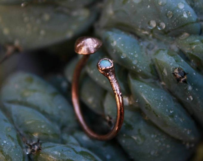 Size 7 | Labradorite + Mushroom Ring | Handmade With Recycled Copper