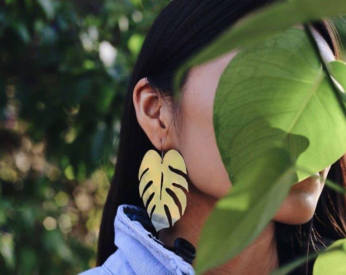 XL Monstera Earrings | Handmade In Raw Brass