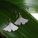 Ginkgo Leaf | Ginkgo Leaf Earrings | Plant Lover | Brass Hoops | Ginkgo Biloba Leaves | Brass Hoops | Ginkgo Hoops | Gold Ginkgo Hoops