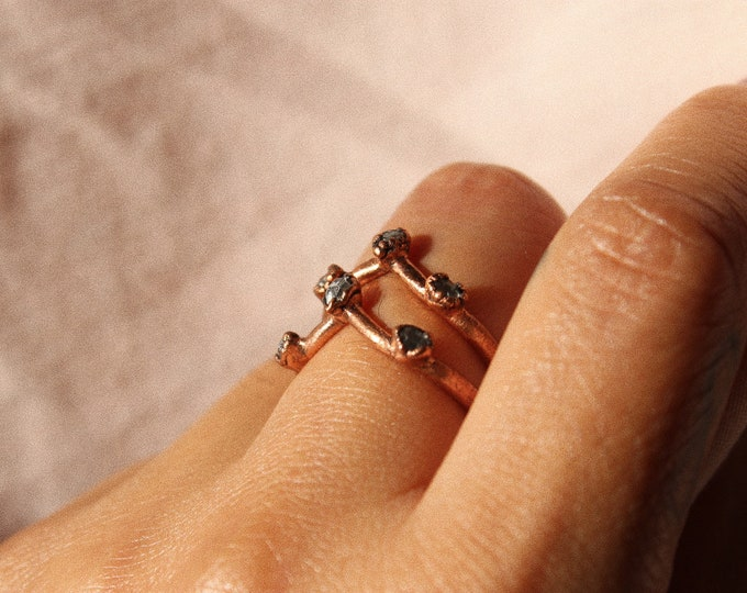 Quartz Band + Tiny Crystal Ring Band Handmade With Recycled Copper