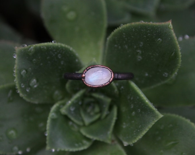 Size 5 | Rainbow Moonstone | Handmade With Recycled Copper