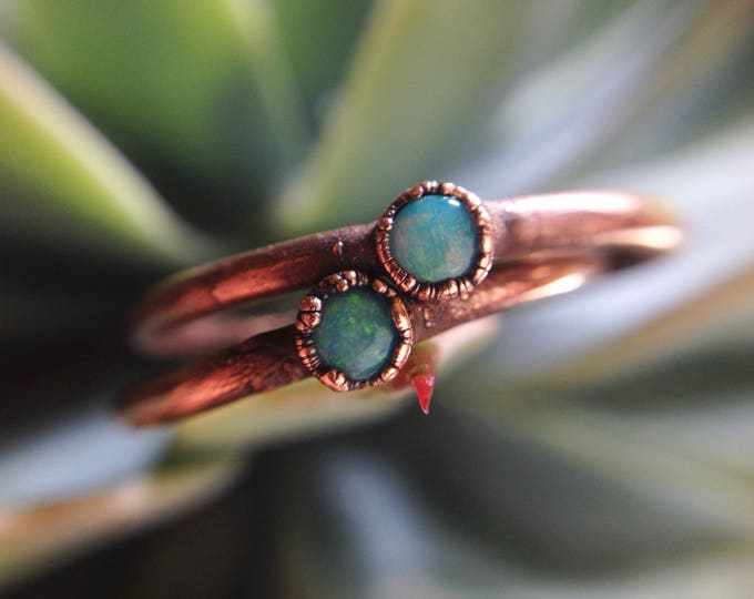 Dainty Coober Pedy Opal Ring | Handmade In Recycled Copper