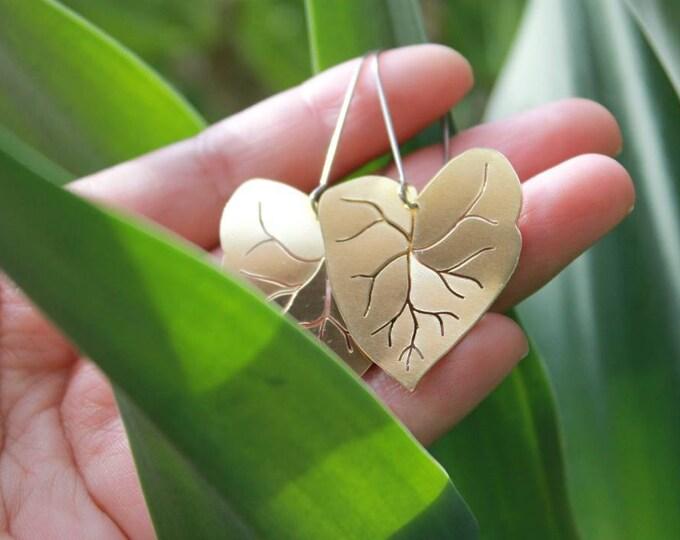 Heart Leaf Earrings | Handmade In Raw Brass