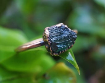 Green Tourmaline | Tourmaline | Raw Tourmaline | Raw Mineral Ring | Copper Ring | Electroformed Ring | Ready-To-Ship