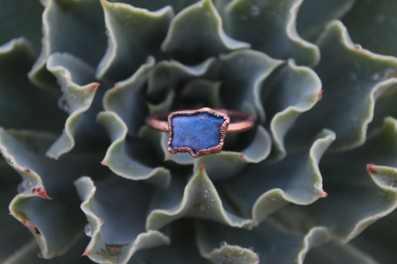 Opal  Blue Opal  Raw Opal Ring  Rough Opal  Opal Jewelry  image 0