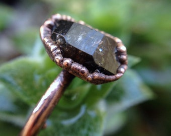 Herkimer | Herkimer Diamond Ring | Herkimer Ring | Copper Ring | Crystal Ring | Mineral Ring | Ready-To-Ship