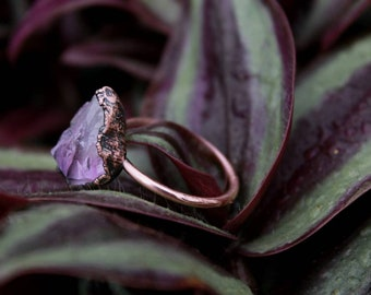 Amethyst | Amethyst Ring | Large Amethyst Ring | Copper Ring | Electroformed Ring | February Birthstone | Ready-To-Ship