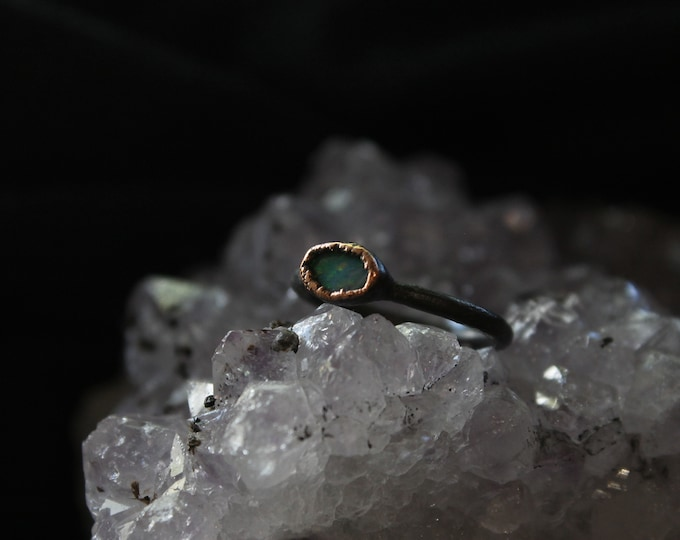 Size 3 1/2 | Australian Opal | Handmade With Recycled Copper