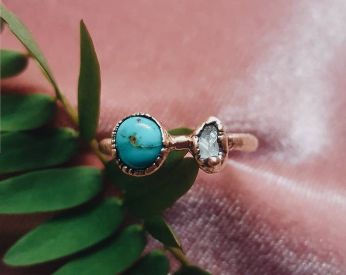Size 6 1/4 | Sonoran Blue Turquoise + Quartz | Handmade With Recycled Copper