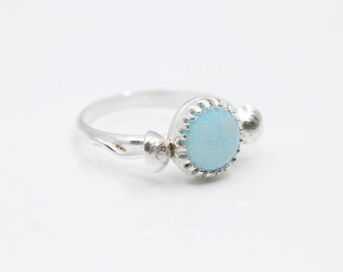 Cultured Opal + Mushroom Ring   Handmade in .925 Sterling Silver   Size 8