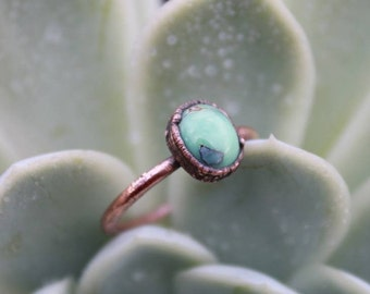 Poseidon Variscite | Poseidon Ring | Variscite Copper Ring | Rustic Copper Ring | Ready-To-Ship