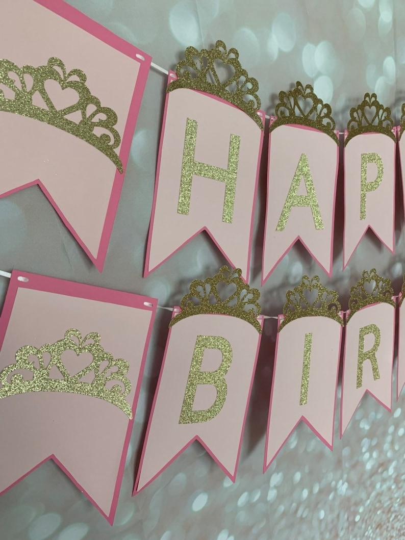First Birthday Princess Disney Princess Princess Party Birthday Party Birthday Banner Tiara Princess Banner Princess Crown Banner