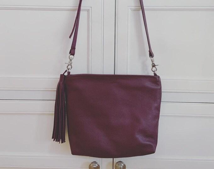 Mauve Handmade Leather Crossbody Purse/ Messenger Bag