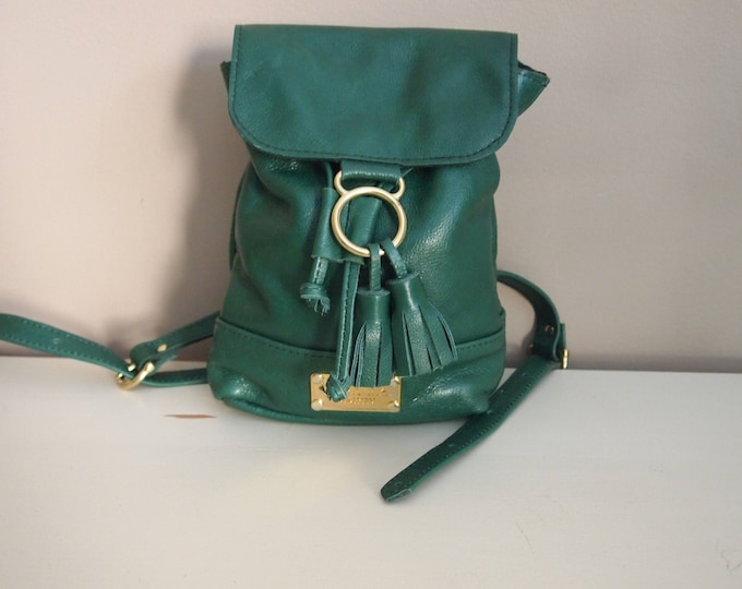 Evie Backpack,  Handmade Small Drawstring Leather Backpack with Flap.