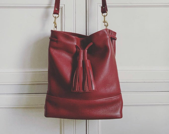Red handmade  Leather Drawstring Bucket Bag