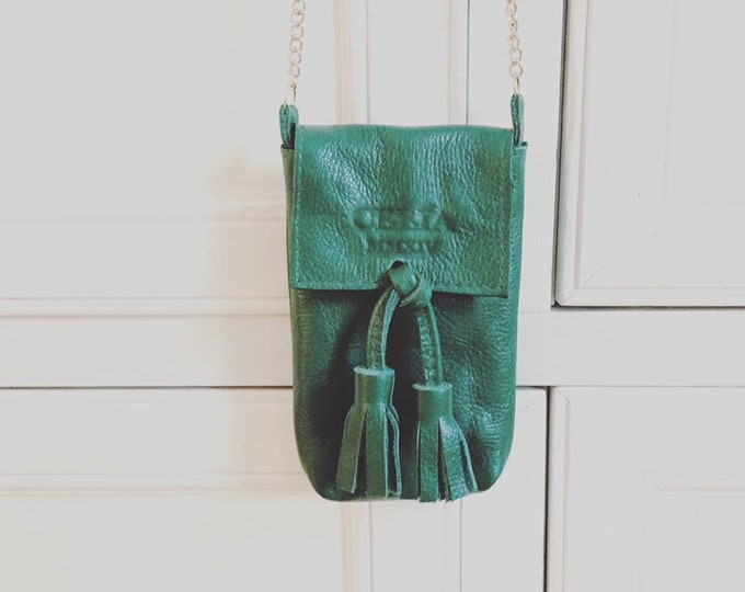 Green Handmade Leather Cell Phone Purse/ Small Leather Cross body.