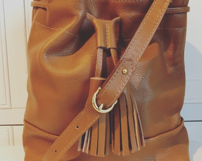 Camel handmade  Leather Drawstring Bucket Bag