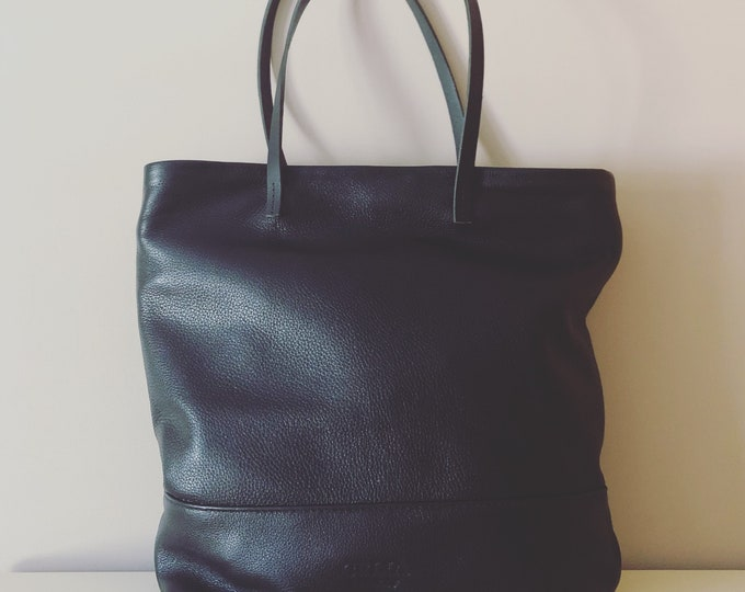 Market Tote; Beach Bag; Handmade Black Leather Tote; black purse; black bag
