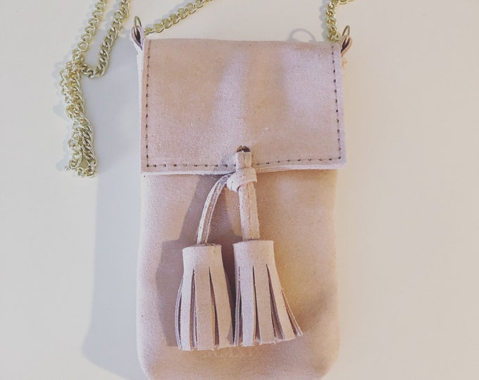Pink  Small Handmade Leather Cell Phone Purse/ Small Leather Cross body.