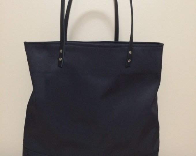 Sale!! Market Tote; Beach Bag; Handmade Nylon and Leather Tote