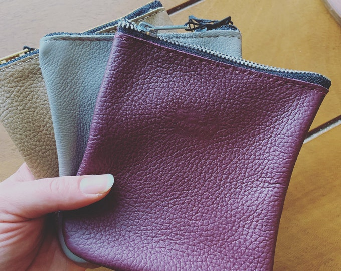Leather moon pouch/ leather change purse / coin purse/ wallet