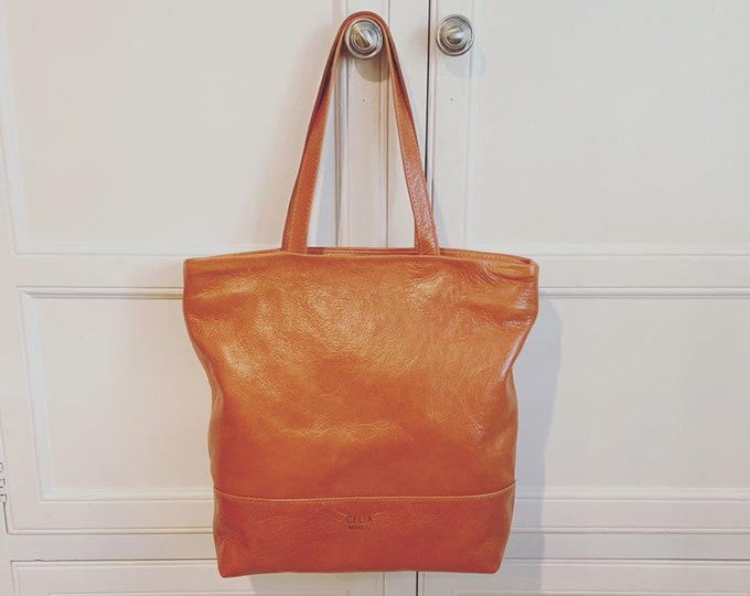 Market Tote; Beach Bag; Handmade Leather Tote; Orange tote; BURNT ORANGEtote; tote