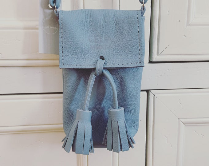 Blue Handmade Leather Cell Phone Purse/ Small Leather Cross body.