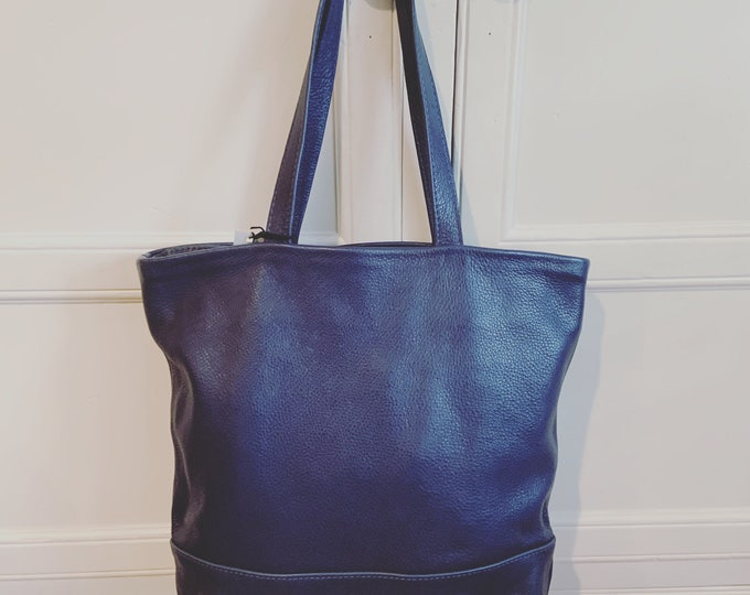 Market Tote; Beach Bag; Handmade Leather Tote; Leather Purse