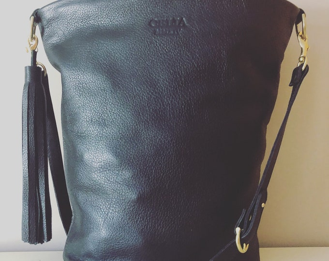 Black Large Leather Bucket bag