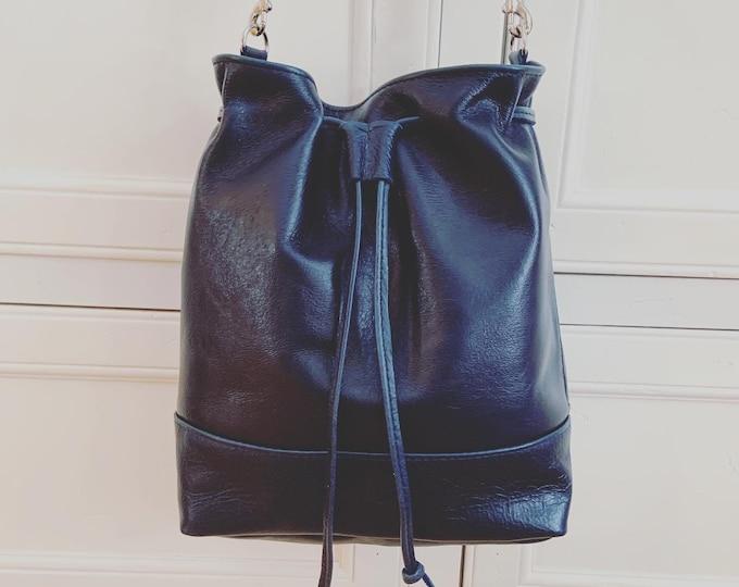 Custom Grey*****Leather Drawstring Bucket Bag/Purse