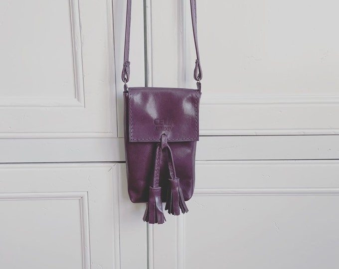 Purple Handmade Leather Cell Phone Purse/ Small Leather Cross body.