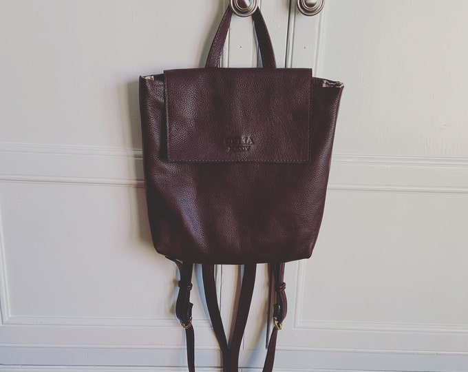 Leather book bag, leather backpack