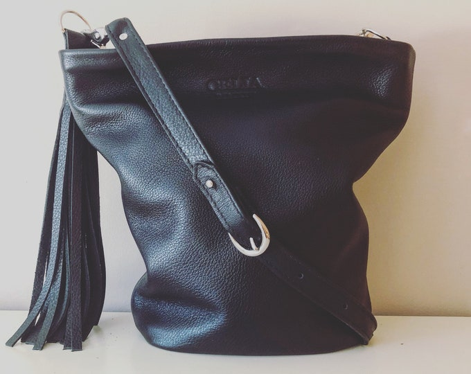 Black Handmade Small Leather Bucket Bag/ Hobo Bag