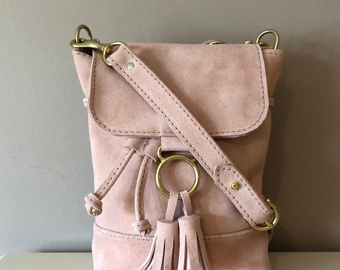 Evie Crossbody /Handmade Small Drawstring Leather bag with Flap/ small leather bag / Leather Crossbody