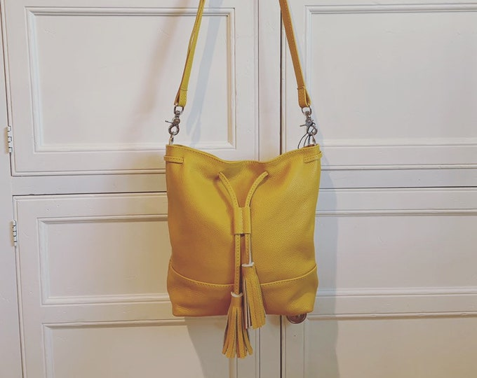 Mustard yellow Leather Drawstring Bucket Bag