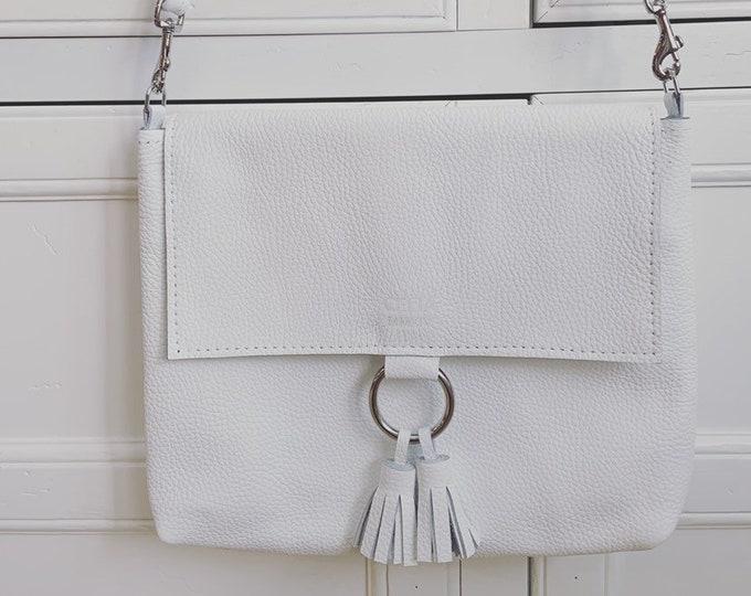 Handmade genuine leather crossbody, messenger/ leather purse/white leather/ white purse