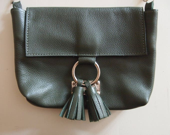 Sage Green Small Leather Crossbody