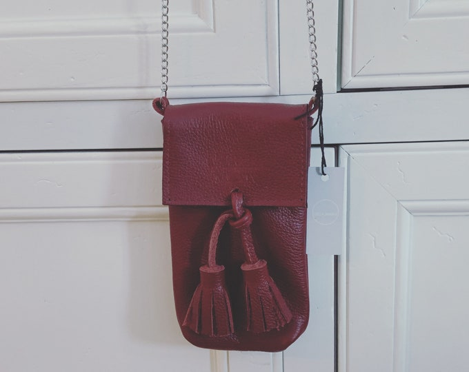Red Handmade Leather Cell Phone Purse/ Small Leather Cross body.